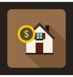 House and dollar sign icon in flat style vector image