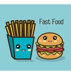 Icon cartoon burger fries design vector