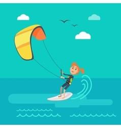 Kitesurfing concept in flat design vector