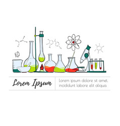 Laboratory equipment color set science chemistry vector