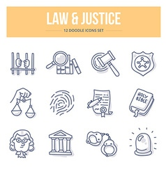 Law Justice Doodle Icons vector