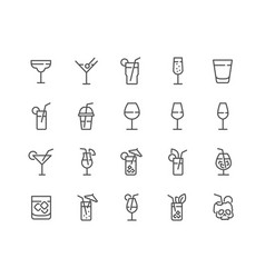 line cocktail icons vector image