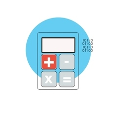 Line Icon with Flat Graphics Element of Calculator vector image