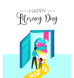 Literacy day book imagination for children concept vector