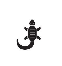 Lizard black concept icon lizard flat vector