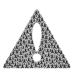 Mistake triangle sign pattern of mourning ribbon vector