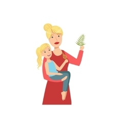 Mother And Child Enjoying The Nature Together vector image