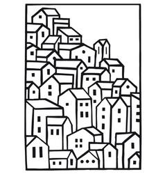 mountain village blank vector image