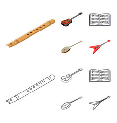 musical instrument cartoonoutline icons in set vector image
