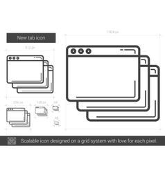 New tab line icon vector image