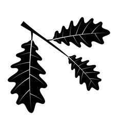 oak leaves black outline silhouette vector image