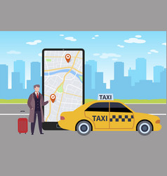 online taxi man calls taxi through application vector image