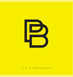 p and b logo linear simple monogram vector image