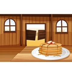 Pancakes in a plate vector
