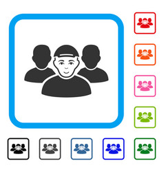 People group framed positive icon vector