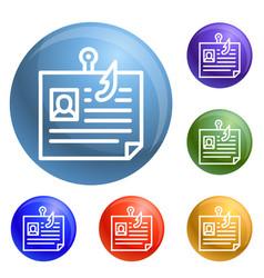 personal data phishing icons set vector image