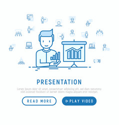 presentation concept man showing graph of growth vector image