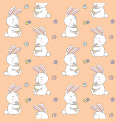 rabbit drink with flower seamless pattern vector image