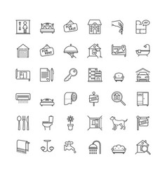 real estate related outline icons set vector image