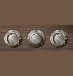 Realistic ship portholes on wooden wall vector