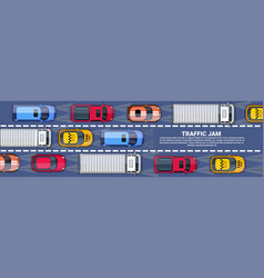 Road full of cars and trucks top angle view vector