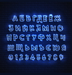 Russian neon font glowing alphabet electric vector