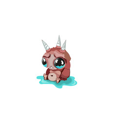 Sad cartoon fantastic monster three unicorn and vector
