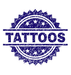 Scratched textured tattoos stamp seal vector