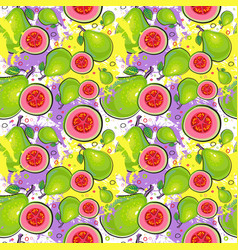 seamless pattern guava fruits exotic ornament vector image