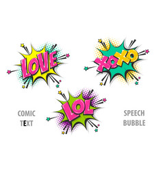 Set comic text speech bubble love xoxo lol vector
