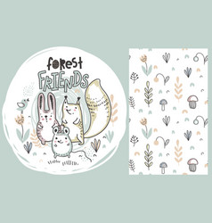 Set of cute hand drawn forest animals and vector