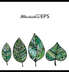 Set of four green graphic leaves pr vector