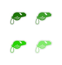 Set of paper stickers on white background whistle vector
