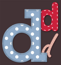 Set of stitched font - Letter D vector