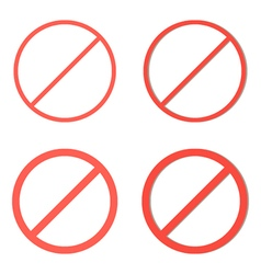 Set red prohibition signs on white background vector