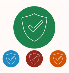 shield check mark icons set vector image