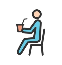 Sitting Man Drinking Soda vector