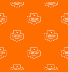 smart house pattern orange vector image