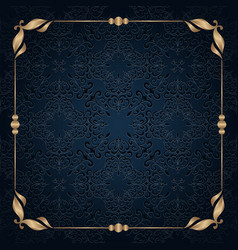 square gold frame with scroll corner patterns vector image