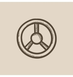 Steering wheel sketch icon vector image