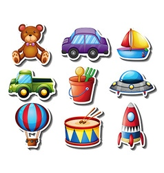 Sticker set of many toys vector image