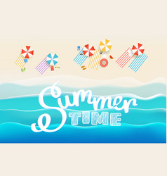 Summer time concept sandy beach with different vector