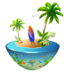 Surfboard on tropical island paradise beach of vector