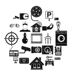 surveillance cameras icons set simple style vector image