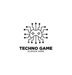 Techno game logo design vector