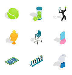 tennis equipment icons isometric 3d style vector image