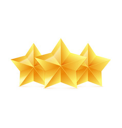three 3d gold stars on white background victory vector image