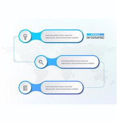 three steps workflow infograph chart diagram vector image