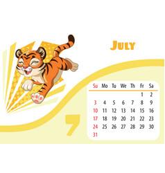 Tiger desk calendar design template for july 2022 vector