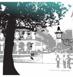 tree silhouette street scene vector image